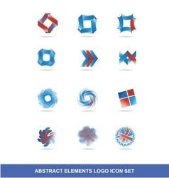 Corporate business blue red logo elements set vector