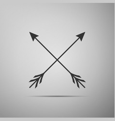Crossed arrows icon isolated on grey background vector