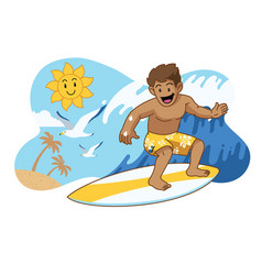 Cute cartoon surfing vector