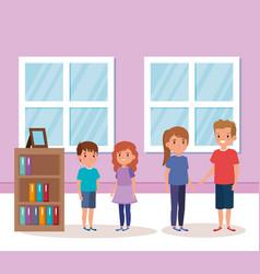 Cute little children indoor house scene vector