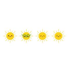 Cute smiling sun characters set vector