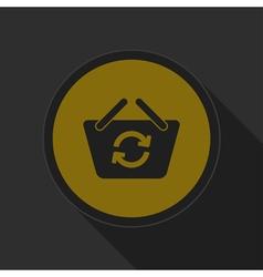 Dark gray and yellow icon shopping basket refresh vector