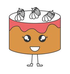 delicious cake bakery kawaii character vector image