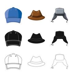 design headgear and cap symbol set of vector image