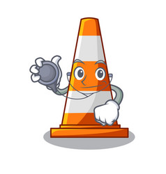 Doctor traffic cone on road cartoon shape vector