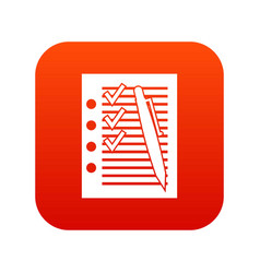 document with plan and pen icon digital red vector image