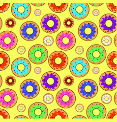 Donut seamless pattern with different topping on vector