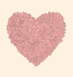 doodle floral heart vintage printable heart vector image