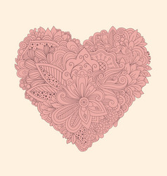 doodle floral heart vintage printable heart with vector image