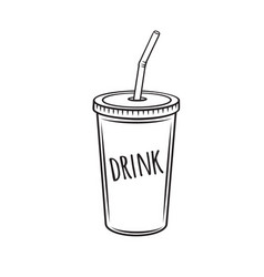 drinks mug with straw vector image