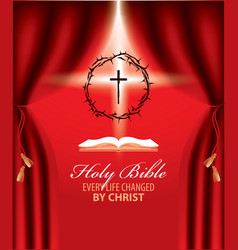 easter banner with crown of thorns cross and book vector image