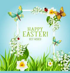 Easter floral frame with spring flower card design vector