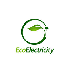 eco electricity green leaf plug electric logo vector image