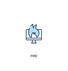 Fire concept 2 colored icon simple line element vector