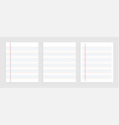 Five line english paper sheet notebook vector