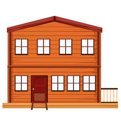 flat wooden house on white background vector image
