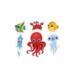 Friendly sea animals set for kids vector