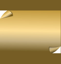 golden paper with scrolled corners blank vector image vector image