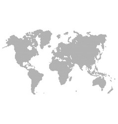 Gray dotted world map isolated on background blan vector