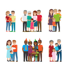 Group portraits happy families set vector