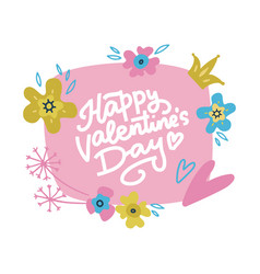 hand drawn valentine card with flowers vector image