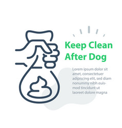 Hand holding bag with dog poop please keep clean vector
