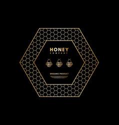 Honey logo with gold gradient honeybee in frame vector