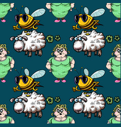 Housewife bee and farting sheep seamless pattern vector
