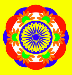 Independence day of india 15 august wheel with 24 vector
