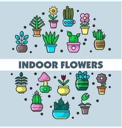 Indoor flowers and house plants in flowerpots vector