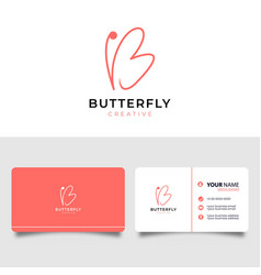 Initial letter b with butterfly symbol minimalist vector