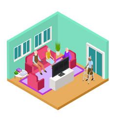 isometric nursing home living room interior vector image