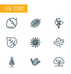 landscape icons line style set with hazel nut vector image