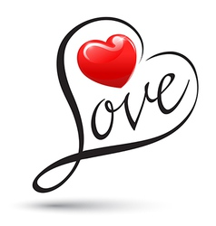 Love with heart typography Love calligraphy vector