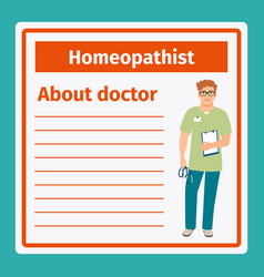 Medical notes about homeopathist vector