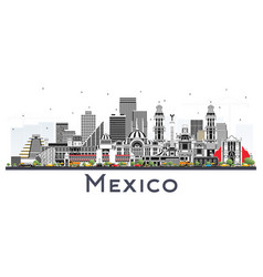 Mexico city skyline with gray buildings isolated vector