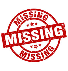 missing round red grunge stamp vector image