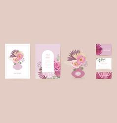 modern minimal art deco wedding invitation vector image