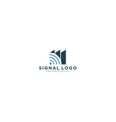 Modern technology logo - wifi signal with building vector