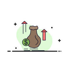money bag dollar growth stock flat color icon vector image