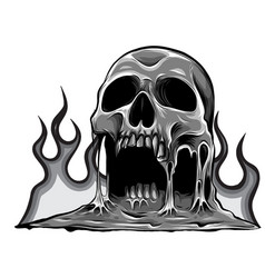 Monochromatic skull that is melting drawing vector