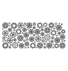 Mosaic map of kansas state with gear wheels vector