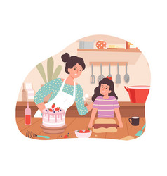 Mother and daughter cooking family time happy vector