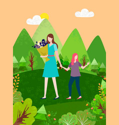 mother and daughter walking together summer cloth vector image