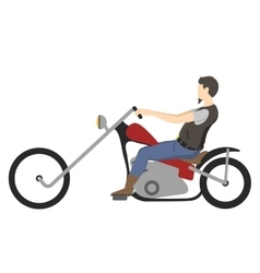 Motorcyclist on motorbike vector