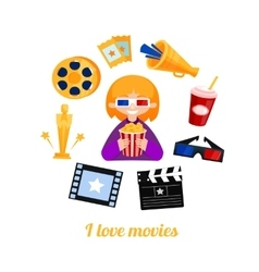 Moviegoer girl cinema icons set vector image