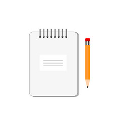 notepad with pencil on white background vector image