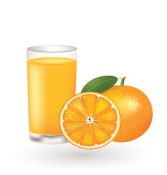orange juice with a fresh oranges beside the glass vector image
