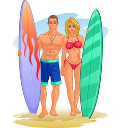 Pair surfers with surfboards a beautiful girl vector