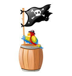 Parrot and pirate flag vector